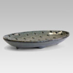 Fruit plate oval shape with dotted texture