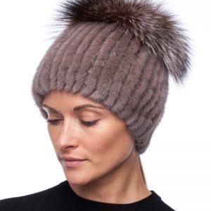 Beautyfur megzta audinės kailio kepurė plačiu bumbulu Gelsva
